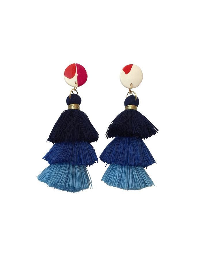 FREE SHIPPING ON ORDERS OVER $50   Funky statement earrings, #handmade in Australia. Blue tassel earrings Blue tiered tassel with 22 mm pink, red and white #polymerclay circle.  Big but very lightweight statement earring. #handmadejewelry