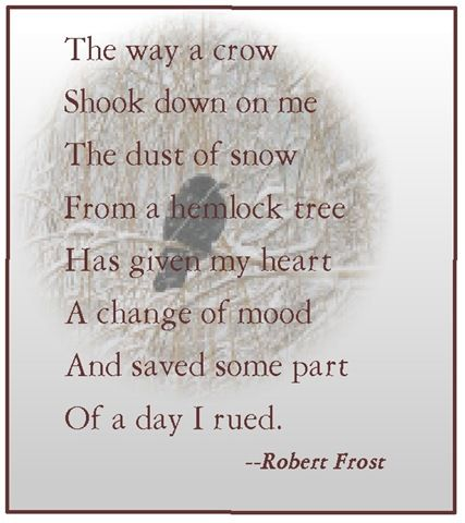 Fall is coming.  Which means Halloween.  Which means I think of Ravens and Crows--I love them.  They are smart and funny.  And Robert Frost wrote one of my favorite poems about one.