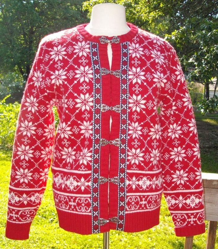 Casual Corner Nordic Lambswool Red & White Cardigan Sweater Jacket, Size S Wool #CasualCorner #Cardigan