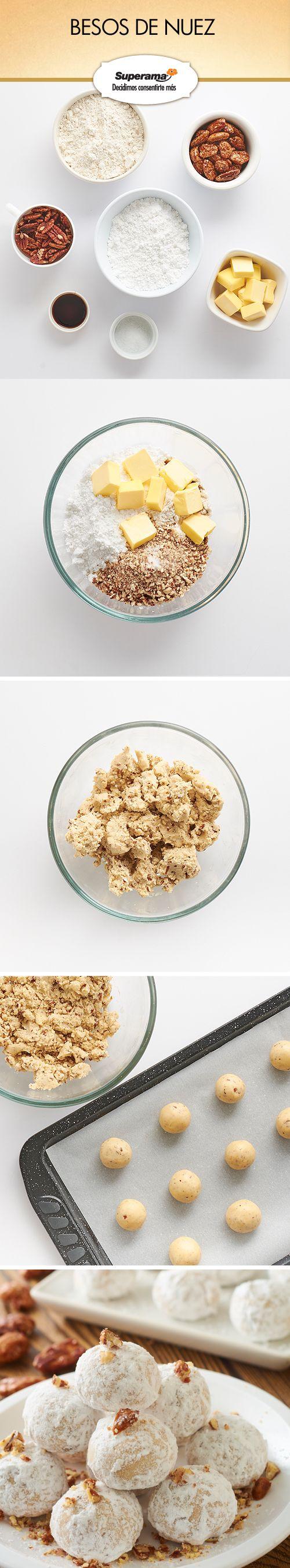 #Besos de #nuez: Mezcla 1 ½ tzs. de mantequilla, 1 tz. de azúcar glass, 1 tz. de nueces quebradas, 3 ¼ tzs. de harina, 2 cdas. de vainilla y 1 pizca de sal hasta que formes una masa. Haz bolitas de 2 cm de diámetro y hornea en una charola con papel para hornear a 180 ºC por 20 min. Deja enfriar. Revuelca las bolitas en 1 tz. de azúcar glass y decora con nueces garapiñadas.