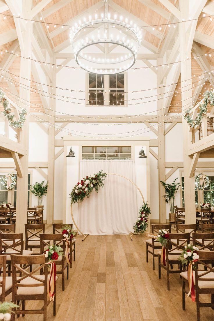 Romantic, rustic barn wedding venue indoor winter