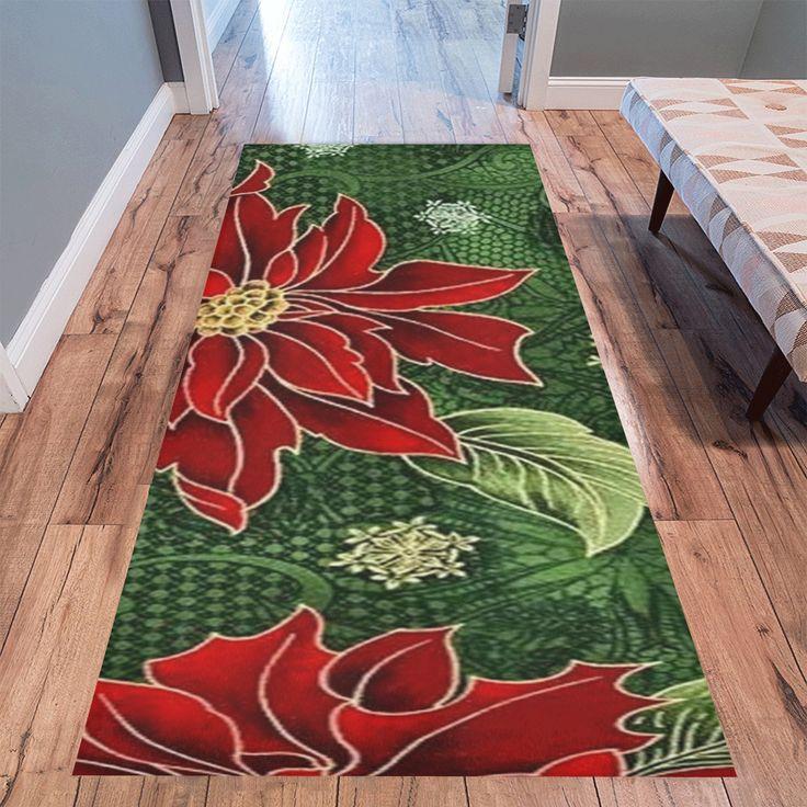 "Elegant Christmas Poinsettia Area Rug 10'x3'3'' - 7x3'3"" also available."