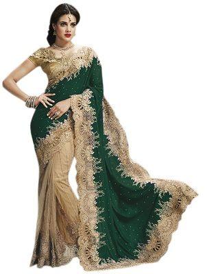 Auspicious Green Embroidered Net Velvet Saree Sarees on Shimply.com