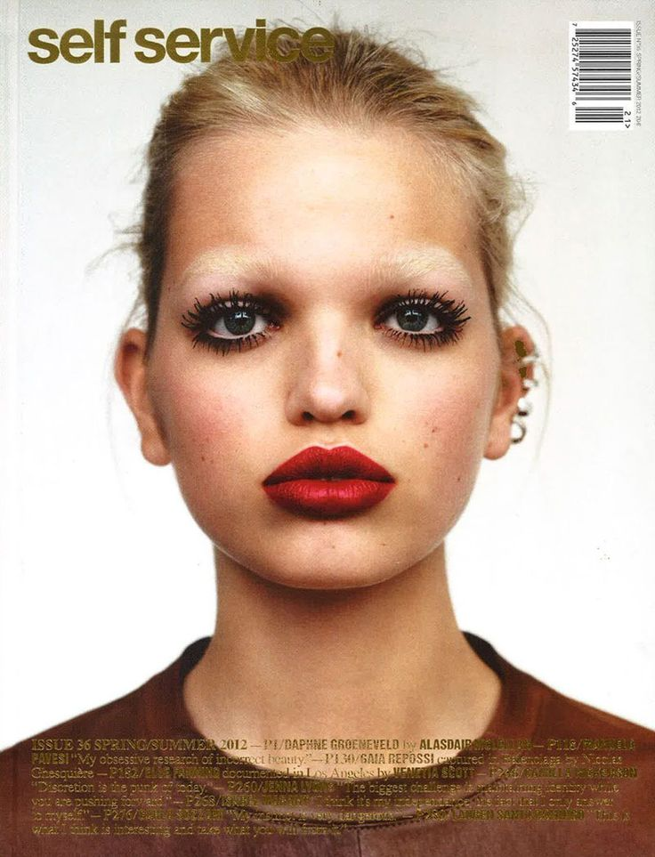 Daphne's Moment – Daphne Groeneveld nabs another cover for the spring season with Self Service's latest issue. Photographed by Alasdair McLellan, Daphne wears red lips and multiple earrings. (Colette)
