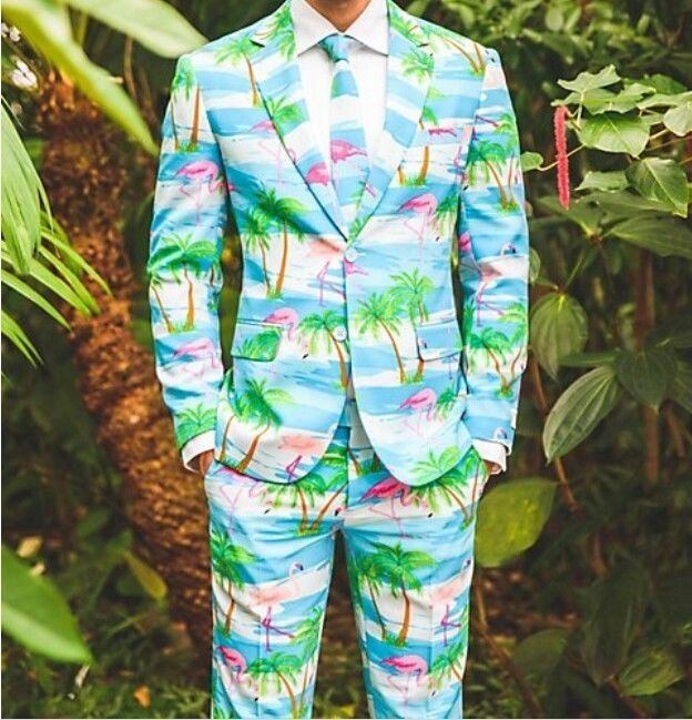 Flamingo 3 Piece Suit 38 Regular Prom Party OPPOSuits Party Jacket Pants Tie #Opposuits #3Piece