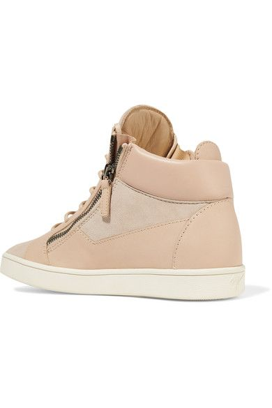 Giuseppe Zanotti - Leather And Suede High-top Sneakers - Neutral - IT36.5