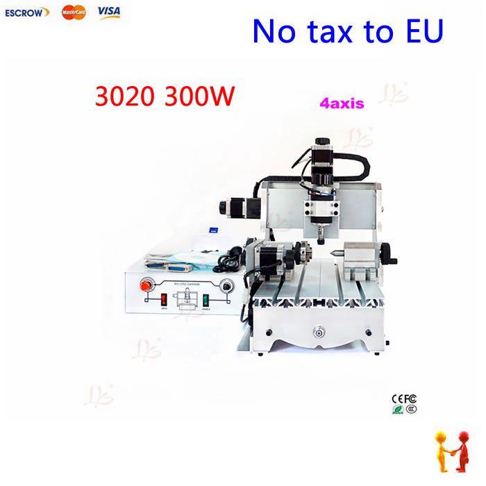 (EU Free Taxes!) 4 axis CNC 3020 T-D 300W Engraving Machine CNC Engraver router Wood Acrylic Plastic carving machine