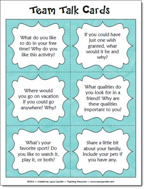 Team Talk Question Cards freebie on Laura Candler's Caring Classrooms page - great back to school activity