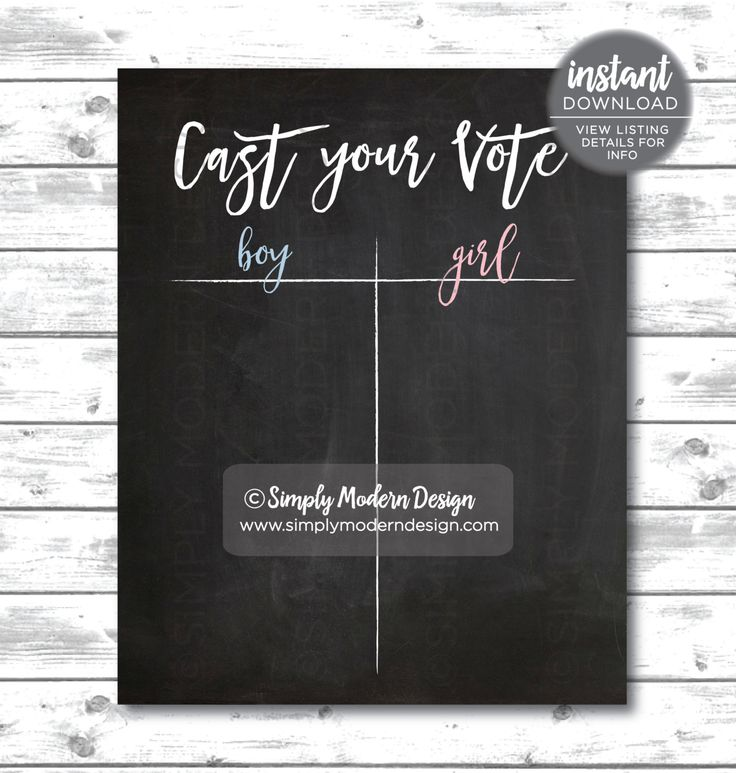 cast your vote sign, chalkboard, tally, gender reveal party sign, boy or girl, pink or blue, guess the gender, instant download by SimplyModernDesignCo on Etsy
