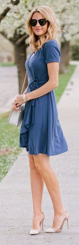 #street #fashion | Blue Wrap Dress | The Ivory Lane                                                                             Source