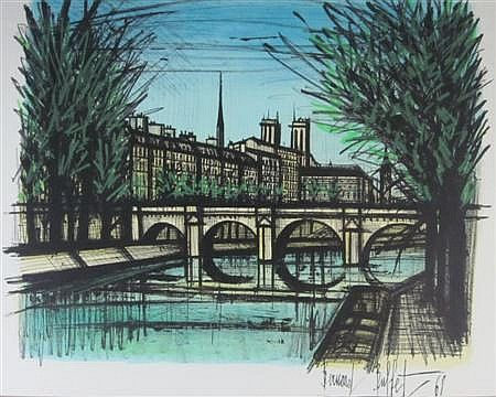 § BERNARD BUFFET (FRENCH 1928-1999) LE PONT DE PARIS 45cm x