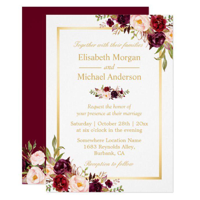 Burgundy Blush Bloom Floral Gold Frame Wedding Invitation Zazzle Com Wedding Frames Floral Wedding Invitations Burgundy Wedding Invitations