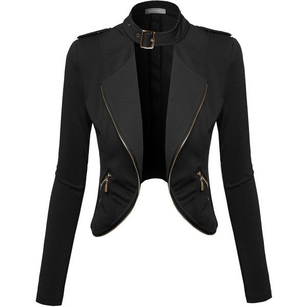 Awesome21 Women's Lapel Long Sleeve Short Suit Blazer Jacket ($20) ❤ liked on Polyvore featuring outerwear, jackets, blazers, blazer jacket, short blazer, short jacket, lapel jacket and lapel blazer