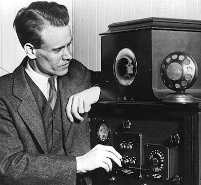 Philo T. Farnsworth demonstrated the first television for potential investors by broadcasting the image of a dollar sign, 1927.