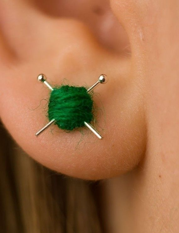 White Wool knitting earrings – yarn ball and needles