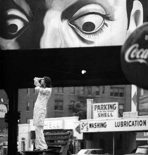 Model with street signs, 1963
