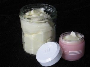 Coconut oil/Jojoba oil Body and Face Cream.-  Dying to try this, if only I could find some beeswax to melt.