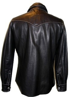 Mens leather shirt custom made style LS014 back image