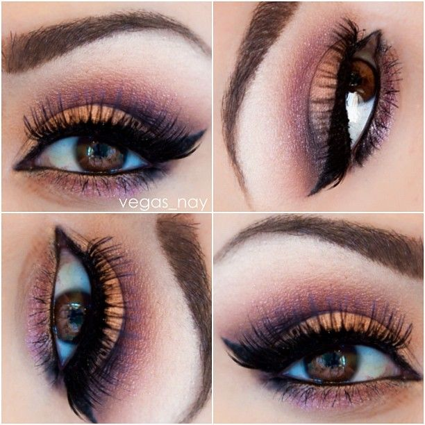 I added a deep plum in crease to compliment the peach on lid; outer crease is black carbon by MAC, inner lid is a light peach; highlight is a shimmer nude (all colors from coastal scents palette).. Inglot's gel liner & MAC's lingering and spiked pencil on brows  - @vegas_nay #webstagram