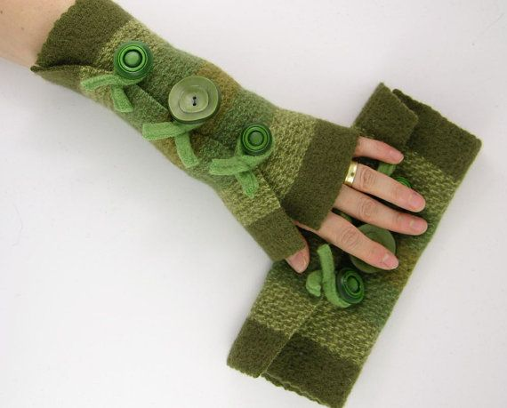 Felted fingerless gloves wrists warmers eco friendly by piabarile, $26.00