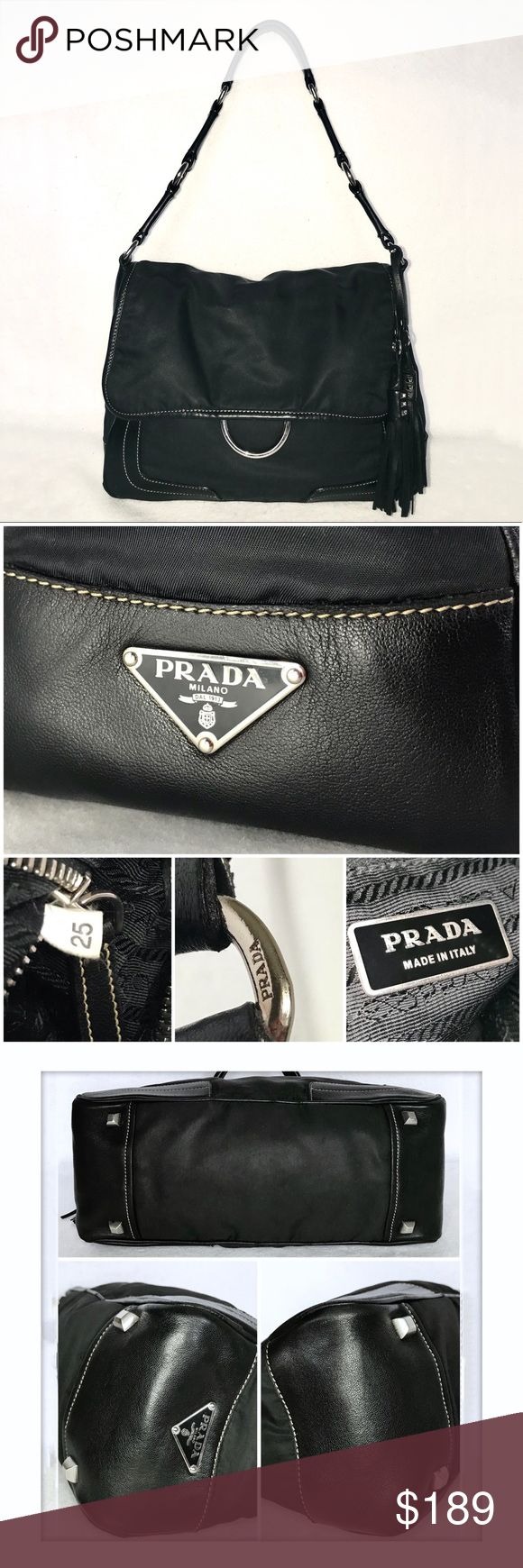 """PRADA Tessuto Nero Leather Trimmed Tassel Bag PRICED TO SELL - TRADE VALUE $249  💯% Authentic  🖤 Great Condition 🖤 No damage (scratches, scrapes, holes, odor).  Nylon w/ contrast stitching & leather trim. Silver hardware. Flap closes over zip closure. 1 inner side pocket w/ metallic logo plate. Signature PRADA jacquard lining. Signature PRADA metallic logo plate on side.  H: 9"""" L: 12"""" D: 5"""" Strap Drop: 11""""  All of my bags are carefully wrapped. Only shipped in boxes. Prada Bags Shoulder…"""