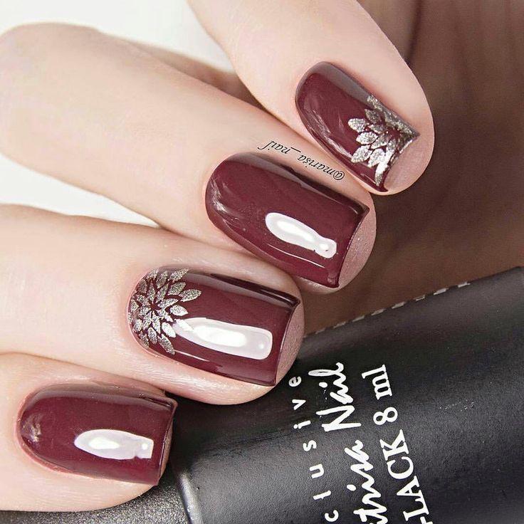 Autumn nails, Beautiful autumn nails, Cherry nails, Dark cherry nails, Maroon nails, Maroon nails by gel polish, Painted nail designs, Plain nails