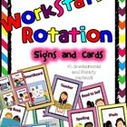 Workstation Rotation Signs and Cards (Bright Chevron) - Programmable in Word AND Powerpoint  This product contains a complete center chart kit.    ...