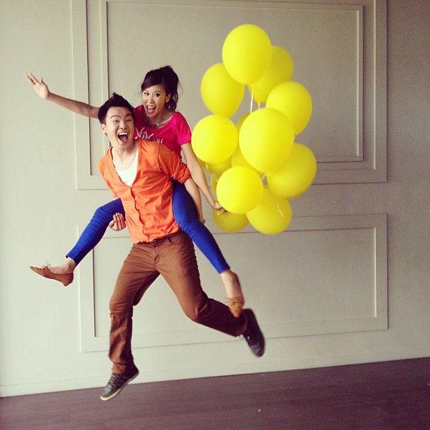Prewedding photo #double #jump