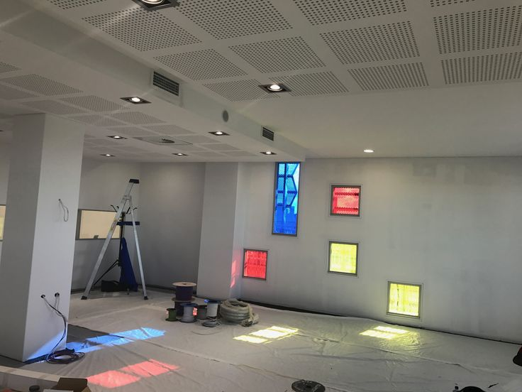Coloured glass in the new library
