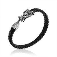 Braided Black Leather Stainless Steel Dragon Cuff Bracelet 8.5in   – Men Jewelry Outfit