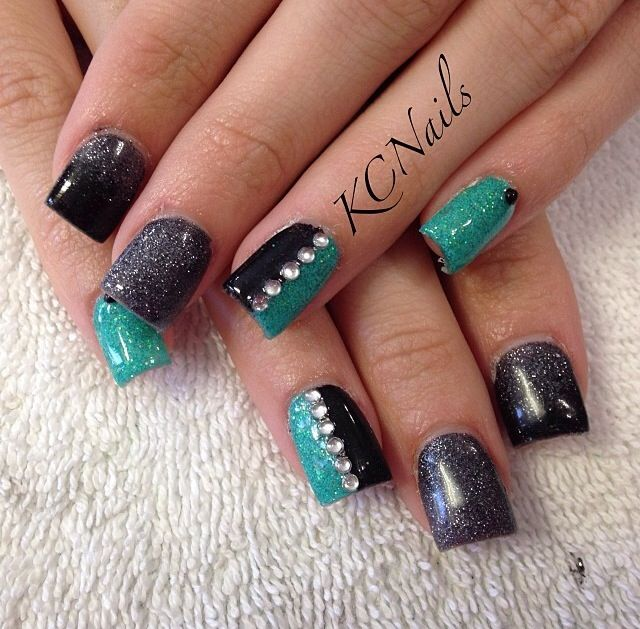 Black silver & teal solid acrylic nails. Black and silver ...