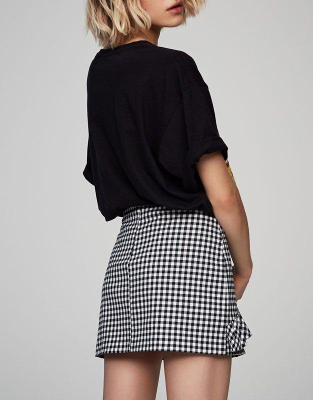 Minigonna quadri vichy volant - Gonne - Abbigliamento - Donna - PULL&BEAR Italia