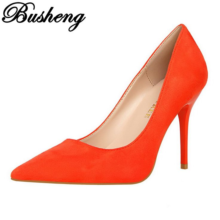 BUSHENG Shoes Woman High Heel Pumps Sexy High Heels Pointed Toe Women Shoes Orange Women Pumps Evening Party Ladies Shoes