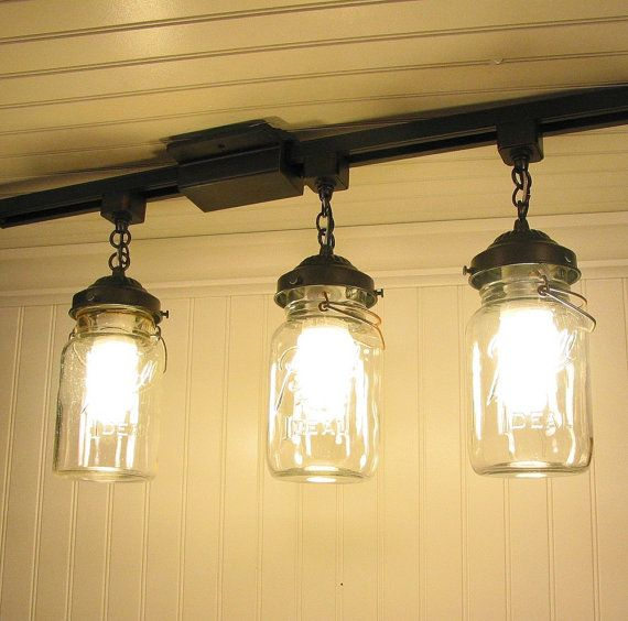 Vintage Canning Jar TRACK LIGHT Trio by LampGoods on Etsy, $250.00  reclaimed wood barn wood rustic mason jar light fixture vanity