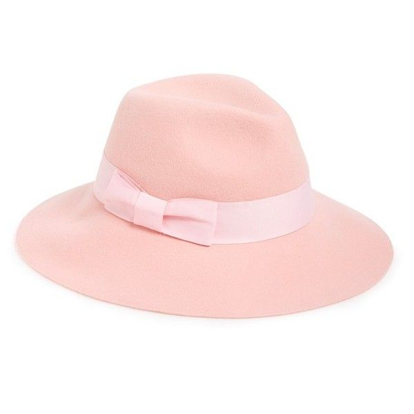 August Hat Pastel Wool Fedora ($58) ❤ liked on Polyvore featuring accessories, hats, pink, woolen hat, pink hat, fedora hat, wool fedora hat and wool fedora