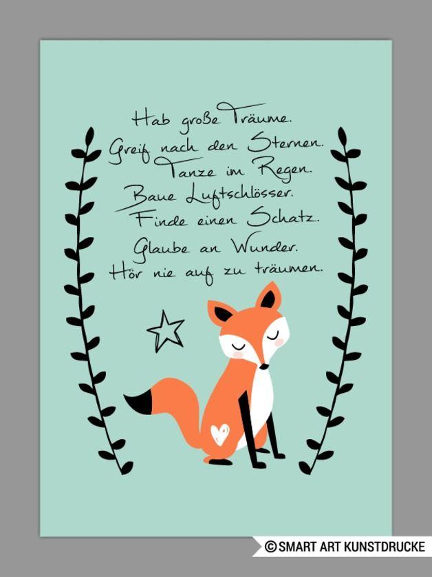 """Druck fürs Kinderzimmer – """"HAB GROßE TRÄUME"""" Kunstdruck in mint, Geschenk – ein Designerstück von Smart-Art-Kunstdrucke bei DaWanda"""
