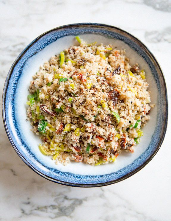 """cauliflower """"cous cous"""" with leeks and sun-dried tomatoes via A House in the Hills"""