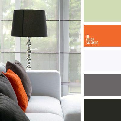 color naranja en interiores, colores para la decoración, combinación de colores para decorar interiores, combinaciones de colores, elección del color, gris y anaranjado, gris y blanco, negro y anaranjado, paletas de colores para decoración, paletas para un diseñador, selección de colores