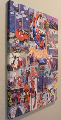 Comic book decoupage on canvas