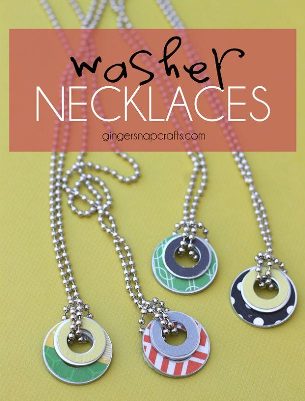 DIY Washer necklaces at GingerSnapCrafts.com