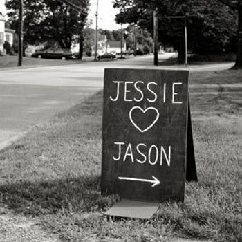 Blackboard or painted sign to match other signage, handy for outside church as not permanant fixing required. If blackboard can be personalised for individual weddings