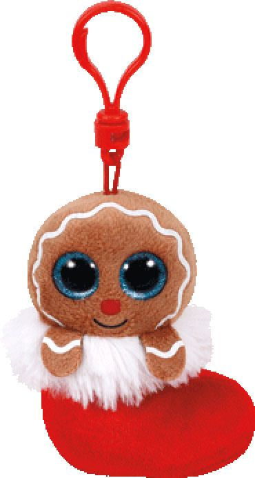 Ty Jingly Gingerbread Man Holiday Christmas Beanie Boos Clip On Keychain Plush