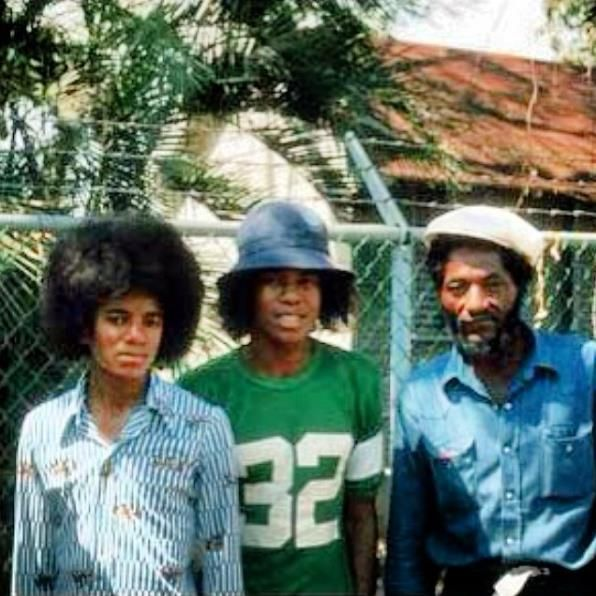 MJ & The Jackson 5 @ Bob Marley's residence, Hope Road with Seco, percussionist in Wailers Band