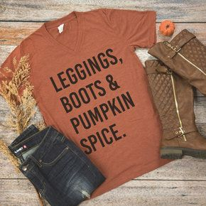Leggings, Boots, & Pumpkin Spice V-Neck Graphic Tee