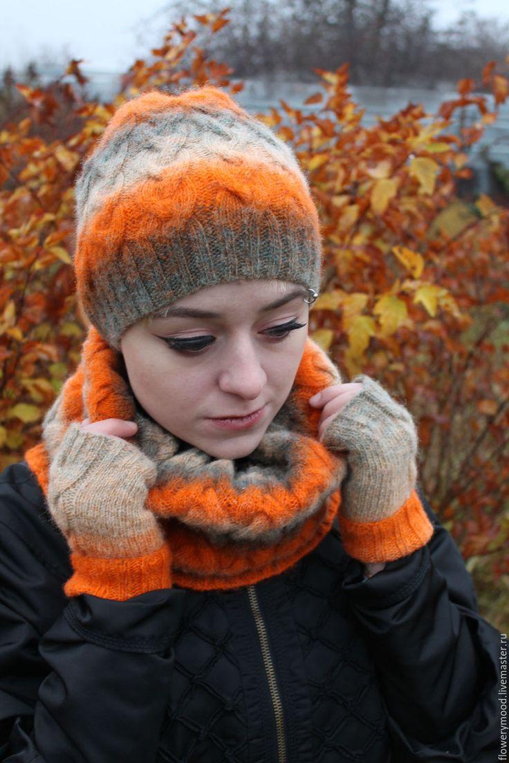 """Купить Вязаный теплый комплект """"Осенний сад"""": шапка, снуд, митенки - оранжевый, снуд вязаный"""