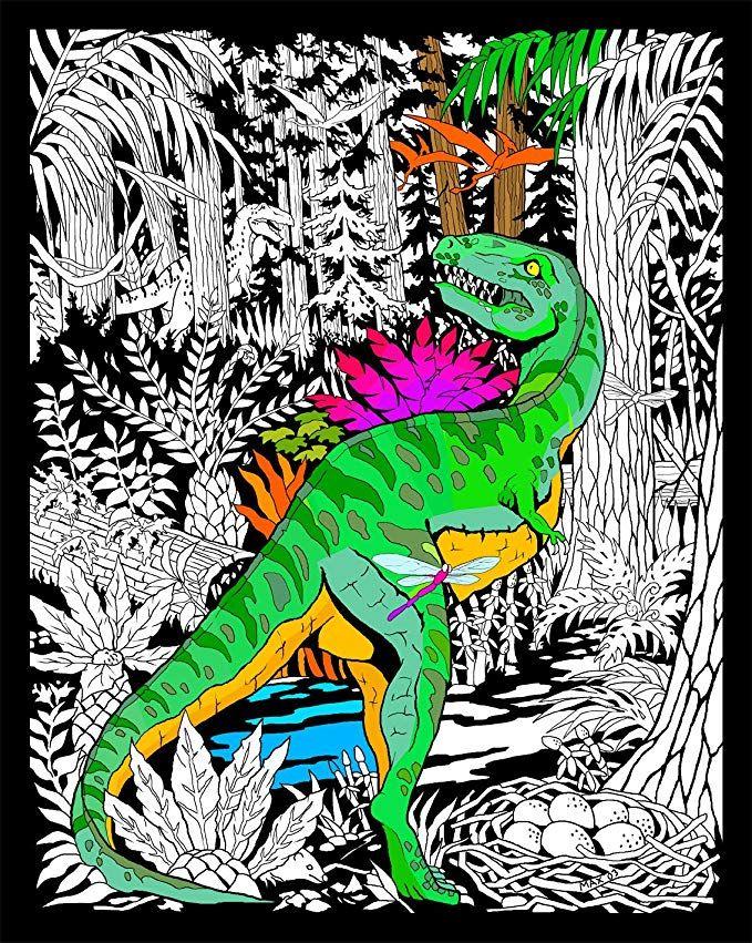 Stuff2Color Dinosaur - 16x20 Fuzzy Velvet Poster Coloring Posters,  Dinosaur Coloring Pages, Fuzzy Posters