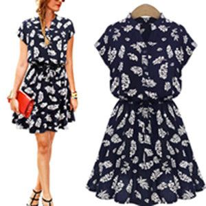 Singwing New Design Leaf Chiffon Women Dress Print Casual Vintage Female Summer Dress Slim Type Short Sleeve Dresses