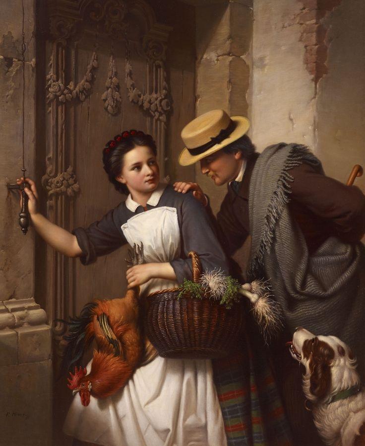 La Flirt by Ferdinand Minor (German 1814-1883)....beware my dear....