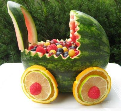 Baby carriage out of watermelon...so cute!