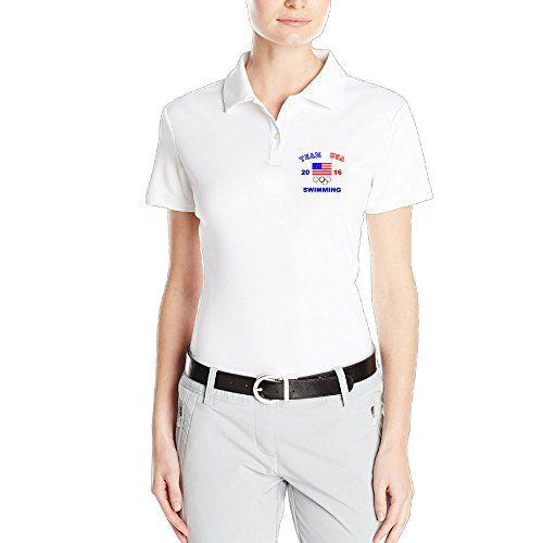 OKGOO Womens Swimming USA Team Rio Olympics 2016 Polo Shirt -- Want additional info? Click on the image.